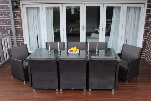 Royale 8 Seater Oblong Wicker Outdoor Dining Setting