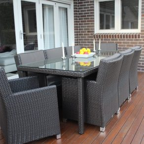 Royale 8 Seater Oblong Outdoor Wicker Dining Patio Set Charcoal Hazelnut wicker colour