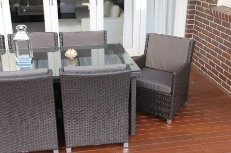 Royale 8 Seater Oblong Outdoor Wicker Dining Patio Set with Charcoal fabric