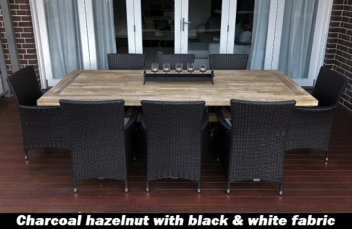 Norwich Outdoor wicker Dining setting Gartemoebe chairs charcoal hazelnut