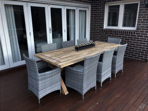 Norwich 9pc Dining Setting With Vintage Grey Chairs