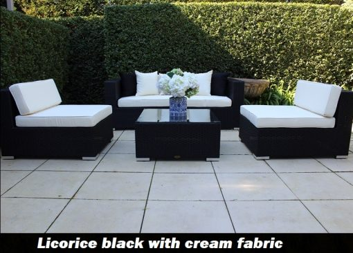 5 ways licorice black wicker lounge setting with cream fabric