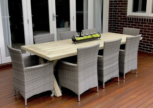 Norfok Outdoor Dining Setting with Aged Grey Chairs