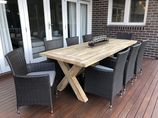 Norwich Outdoor 8 seater Dining setting Gartemoebe chairs Charcoal hazelnut