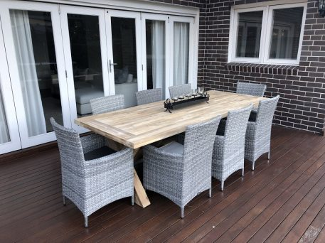 Norwich Outdoor 8 seater Dining setting Gartemoebe chairs vintage grey
