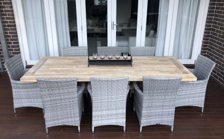Norwich Outdoor Dining setting Gartemoebe chairs vintage grey