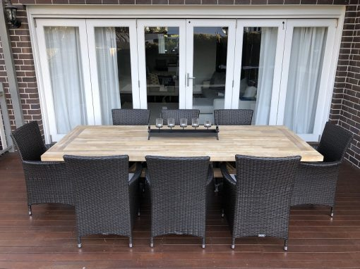 Norwich Outdoor Dining wicker setting Gartemoebe chairs Charcoal hazelnut