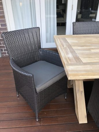 Norwich Outdoor wicker Dining setting Gartemoebe chairs Charcoal hazelnut with charcoal fabric
