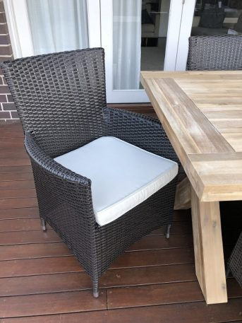 Norwich Outdoor wicker Dining setting Gartemoebe chairs Charcoal hazelnut with cream fabric