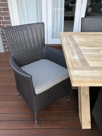 Norwich Outdoor wicker Dining setting Gartemoebe chairs Charcoal hazelnut with grey brown fabric