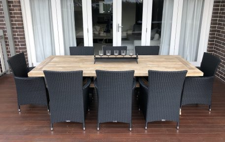 Norwich Outdoor wicker Dining setting Gartemoebe chairs licorice black