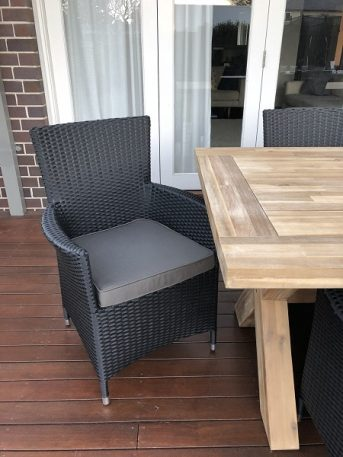 Norwich Outdoor wicker Dining setting Gartemoebe chairs licorice black with charcoal fabric