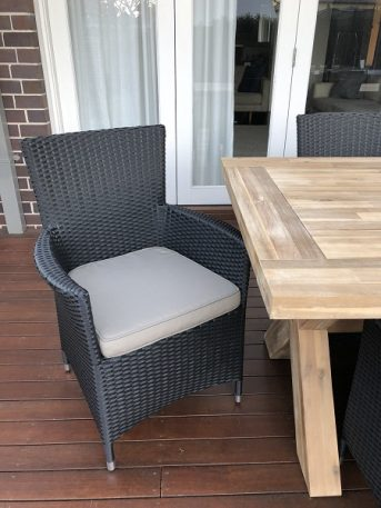 Norwich Outdoor wicker Dining setting Gartemoebe chairs licorice black with grey brown fabric