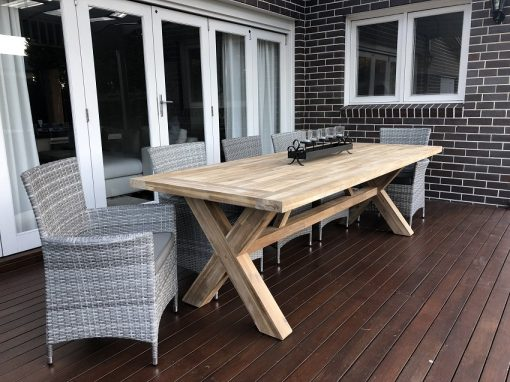 Norwich Outdoor wicker Dining setting Gartemoebe chairs vintage grey