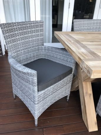 Norwich Outdoor wicker Dining setting Gartemoebe chairs vintage grey with charcoal fabric