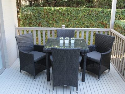 4 seater outdoor dining setting charcoal hazelnut wicker