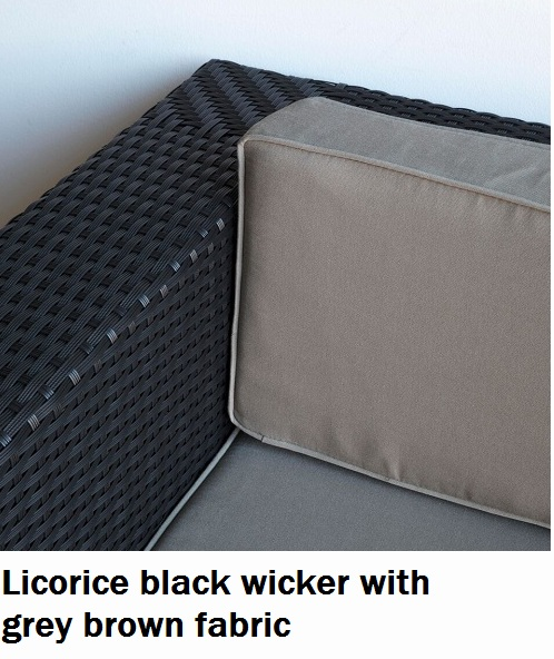 Licorice Black with Grey Brown Fabric Lounge