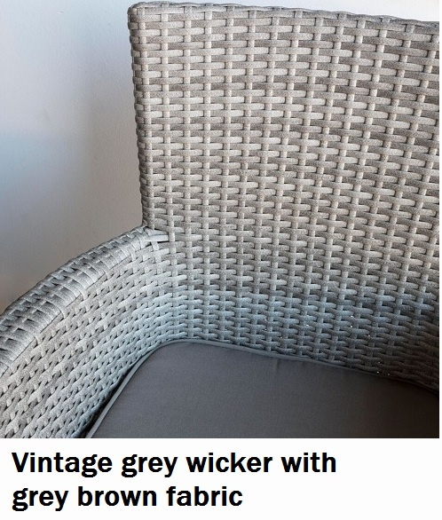 Vintage Grey Wicker Chair with charcoal grey brown fabric cushion