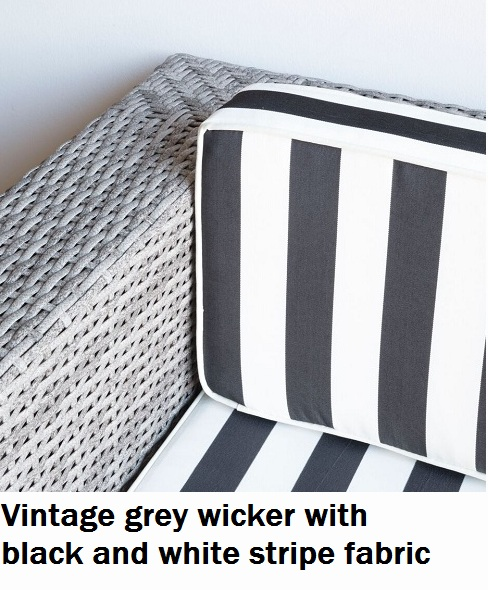 Vintage grey with black and white stripe fabric Lounge