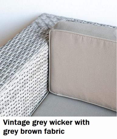 Vintage grey wicker with grey brown fabric cushions