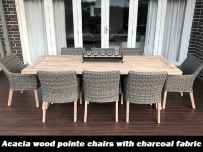 Norwich 8 Seater Outdoor Wicker Dining pointe chairs with charcoal fabric