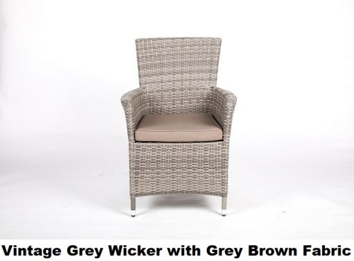 Vintage grey wicker dining chair with light grey/ brown fabric cushion