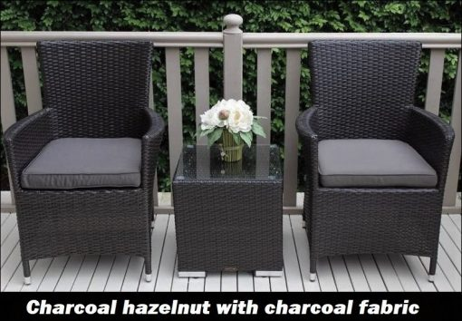 Gartemoebe Charcoal hazelnut Outdoor Wicker Patio Furniture Setting with Charcoal Cushions