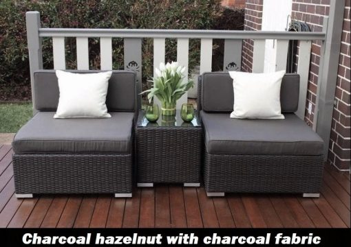 Gartemoebe Wicker Patio Furniture Setting charcoal hazelnut with charcoal fabric