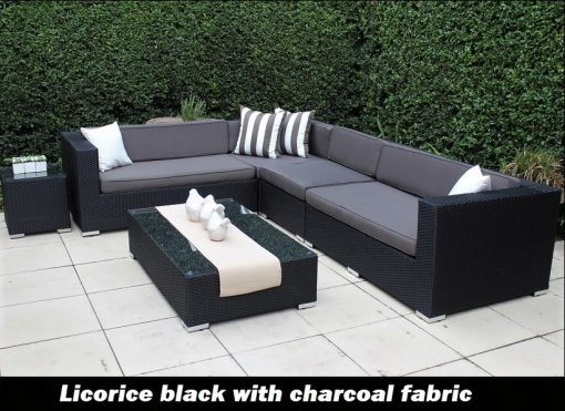 L Shape Outdoor Wicker Setting licorice Black Wicker with Charcoal Fabric Cushions
