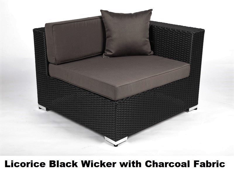 licorice black wicker with charcoal fabric cover