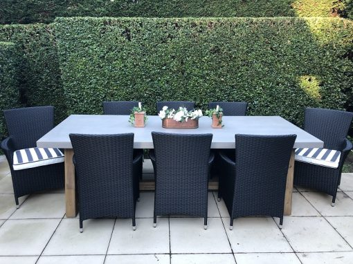 Veltis 8 seater wicker outdoor dining setting with 8 with striped fabric cushions and a rectangular table
