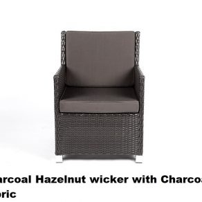 Charcoal hazelnut wicker with charcoal fabric cover