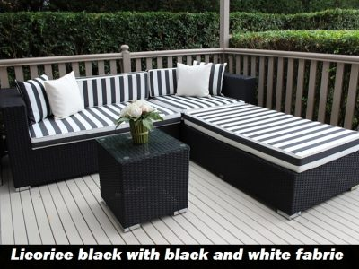 5 Seater Chaise Outdoor licorice black Wicker Lounge Setting Black with Black and White Stripes