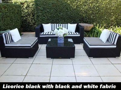 5 Ways Outdoor Wicker Lounge Setting, Licorice Black with black and white fabric