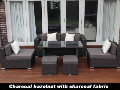 5 ways Lounge Diner Setting charcoal hazelnut with charcoal fabric