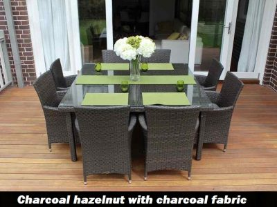 8 Seat Square Outdoor Wicker Dining setting with charcoal fabric