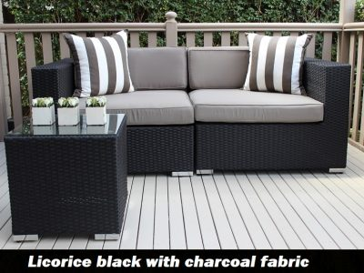 Gartemoebe 2 Seater Wicker Outdoor Furniture Setting, licorice black with charcoal fabric