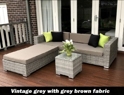 Gartemoebe Chaise Vintage Grey Chaise outdoor wicker setting with grey brown fabric