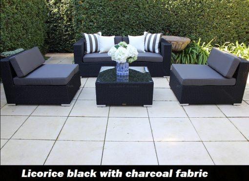 Gartemoebe Five Ways Modular Patio Sofa Lounge 2 Armchairs Coffee Table Licorice Black Charcoal Fabric