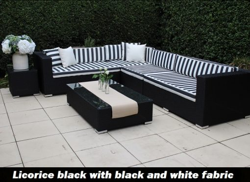 Gartemoebe Modular Outdoor Wicker Furniture -L Shaped licorice Black wicker with Black and White Striped Cushions and Matching Coffee Table