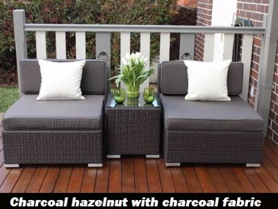 Gartemoebe Wicker Patio Furniture Setting charcoal hazelnut with charcoal fabric