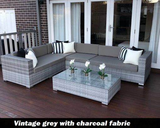 L Shape Modular Vintage Grey outdoor wicker lounge setting with charcoal fabric