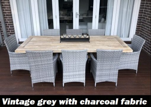 Norwich Outdoor Dining setting Gartemoebe chairs vintage grey with charcoal fabric