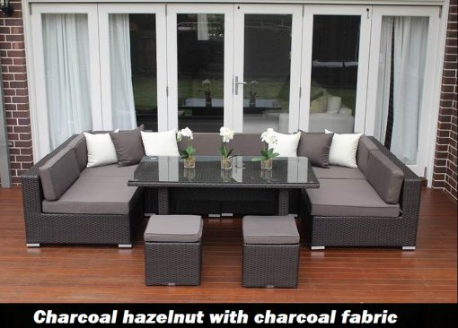 Seven Ways Outdoor Wicker Lounge Diner Setting charcoal hazelnut with charcoal fabric