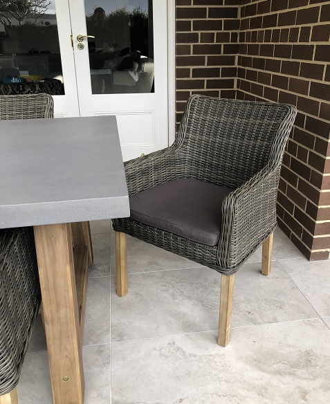 Veltis 8 seater Outdoor Dining setting ponte chairs charcoal