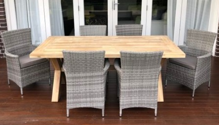 My Wicker acacia wood 6 seater norwich outdoor dining setting