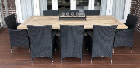 My Wicker acacia wood 8 seater norwich outdoor dining setting