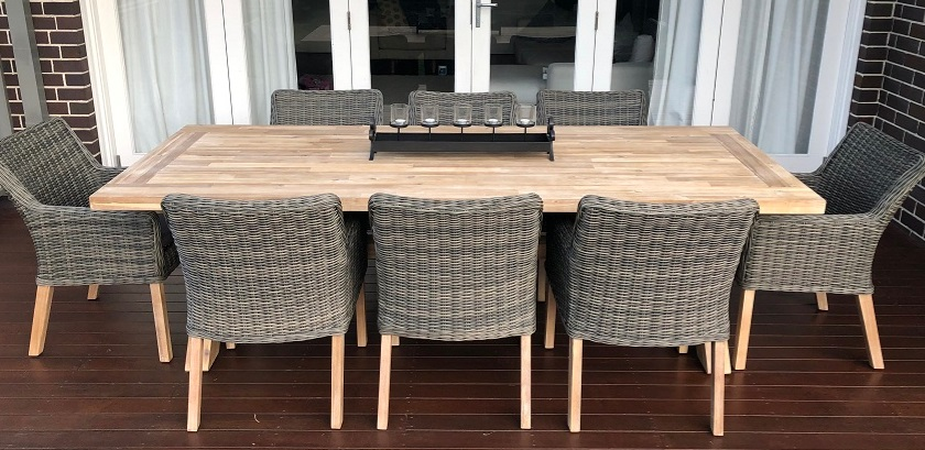 My Wicker Acacia Wood Table 8 seater outdoor dining setting