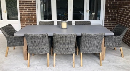 My Wicker Veltis dark grey cement top table with acacia wood base 8 seater norwich dining setting, with ponte chairs