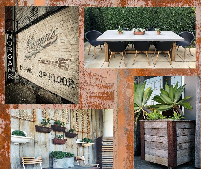 Industrial Style Cement & Wood Outdoor Furniture